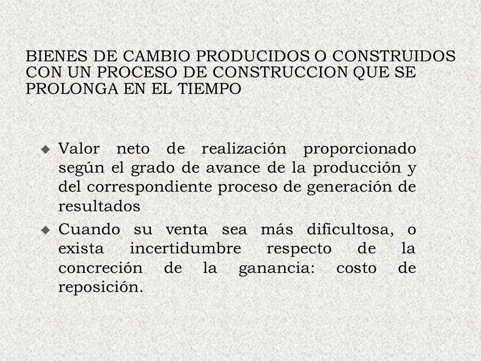 BIENES DE CAMBIO PRODUCIDOS O CONSTRUIDOS CON UN PROCESO DE CONSTRUCCION QUE SE PROLONGA EN EL TIEMPO Valor neto de realización proporcionado según el