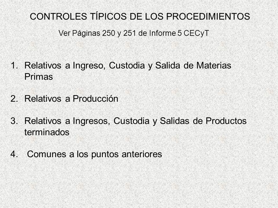 CONTROLES TÍPICOS DE LOS PROCEDIMIENTOS 1.Relativos a Ingreso, Custodia y Salida de Materias Primas 2.Relativos a Producción 3.Relativos a Ingresos, C