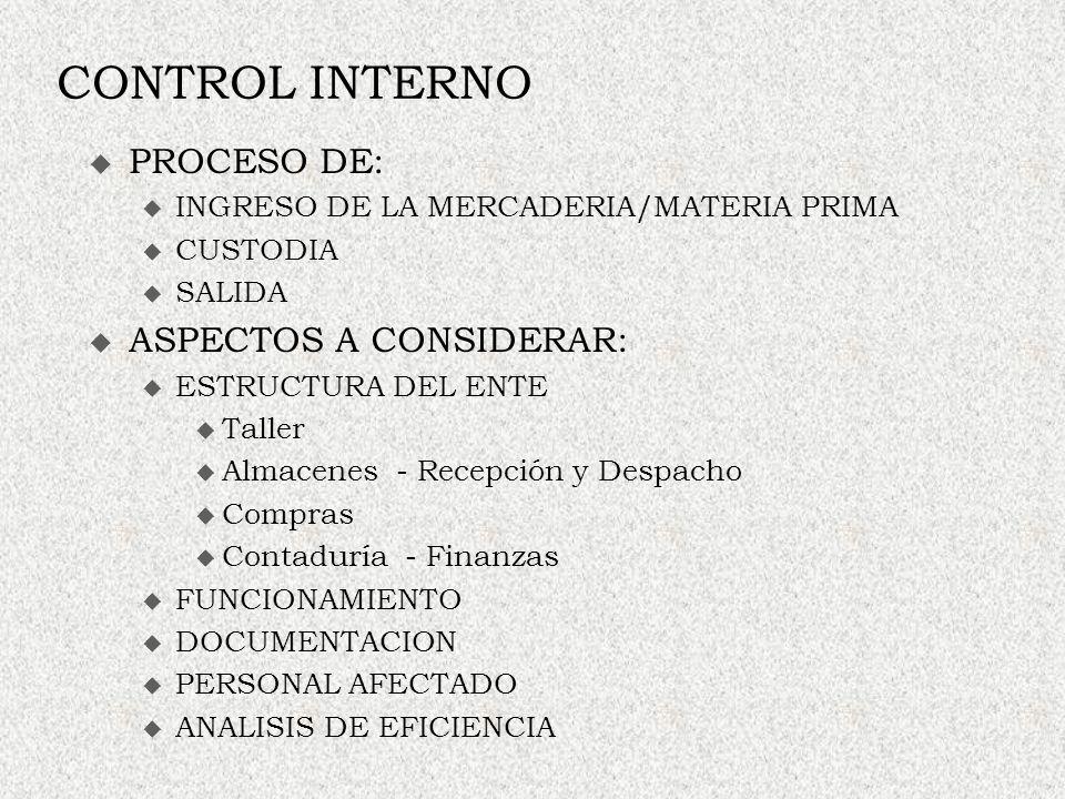 CONTROL INTERNO PROCESO DE: u INGRESO DE LA MERCADERIA/MATERIA PRIMA u CUSTODIA u SALIDA ASPECTOS A CONSIDERAR: u ESTRUCTURA DEL ENTE Taller Almacenes