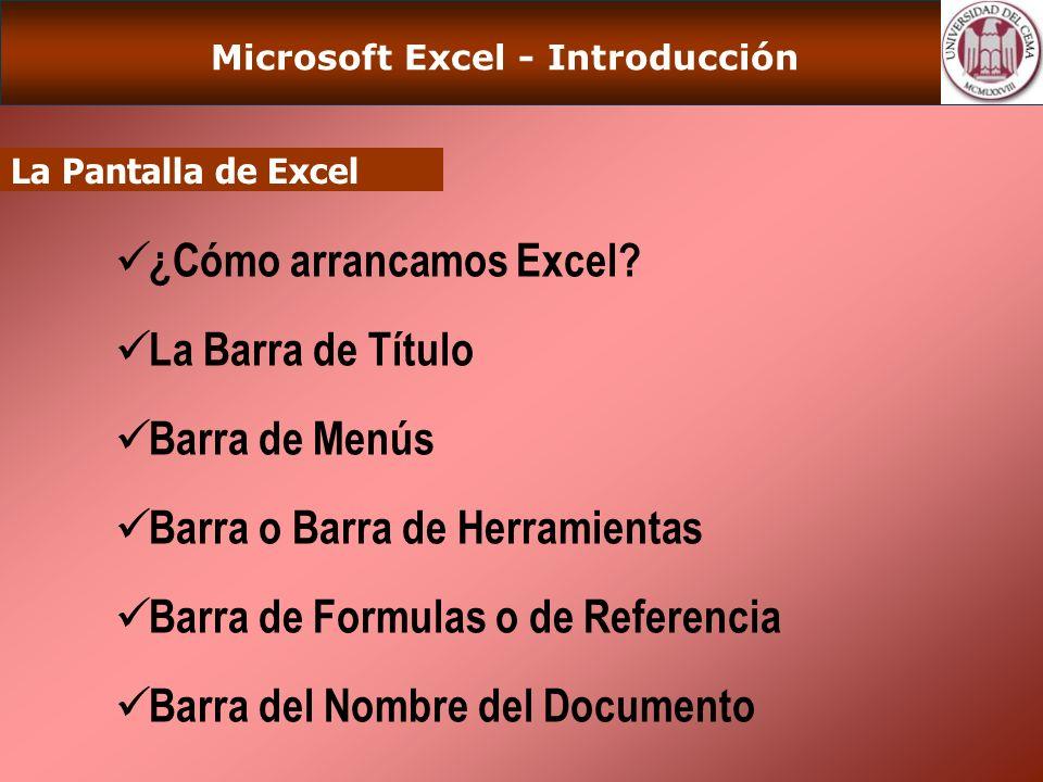 Microsoft Excel - Introducción La Pantalla de Excel ¿Cómo arrancamos Excel.