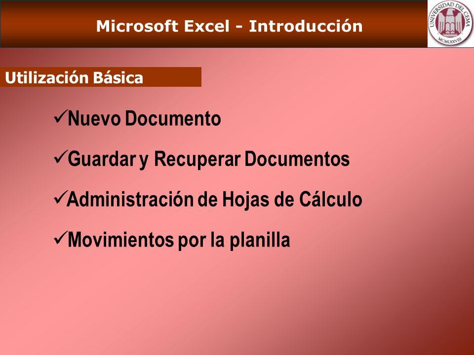Microsoft Excel - Introducción Utilización Básica (Cont) Selección y Activación de Celdas Selección de Hojas Selección de Filas o Columnas.