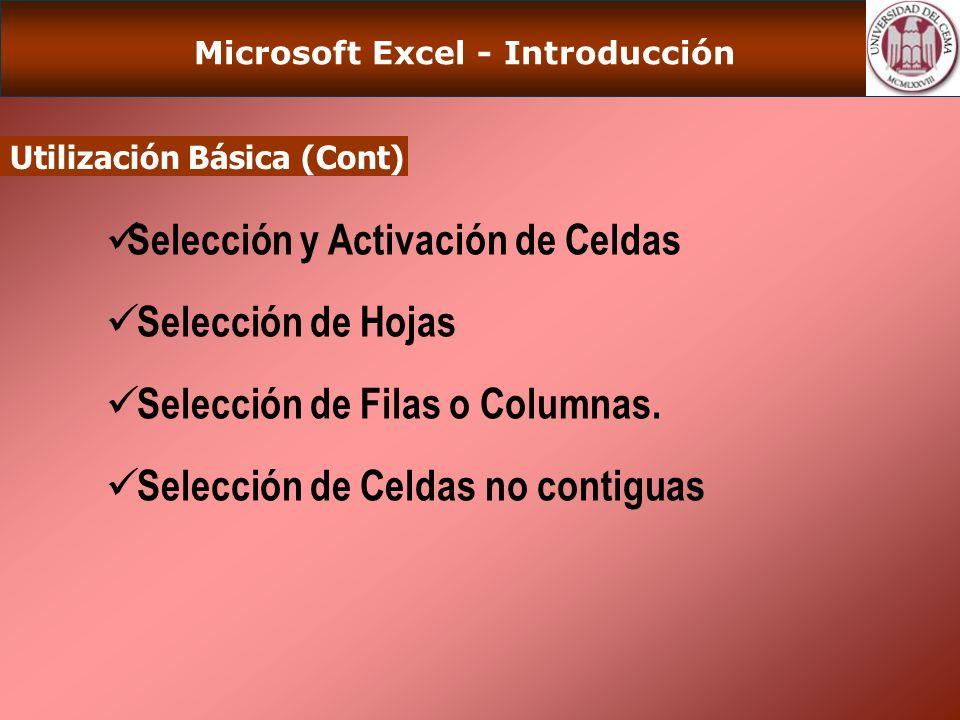 Microsoft Excel - Introducción Ingreso de Datos Introducción de Datos en una celda Introducción de Datos en un rango Inserción de Celdas, Columnas y Bloques Rellenar.