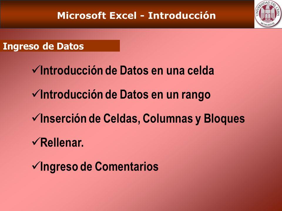 Microsoft Excel - Introducción Ingreso de Datos (cont.) Borrado de Datos.