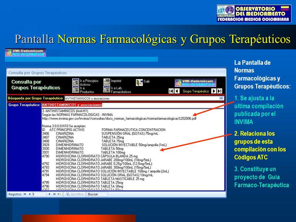 La Pantalla de Normas Farmacológicas y Grupos Terapéuticos: 1.