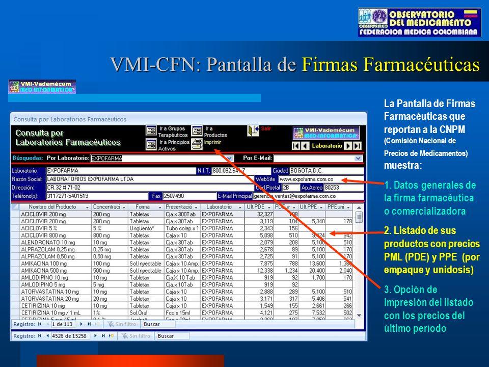 La Pantalla de Firmas Farmacéuticas que reportan a la CNPM (Comisión Nacional de Precios de Medicamentos) muestra: 1.