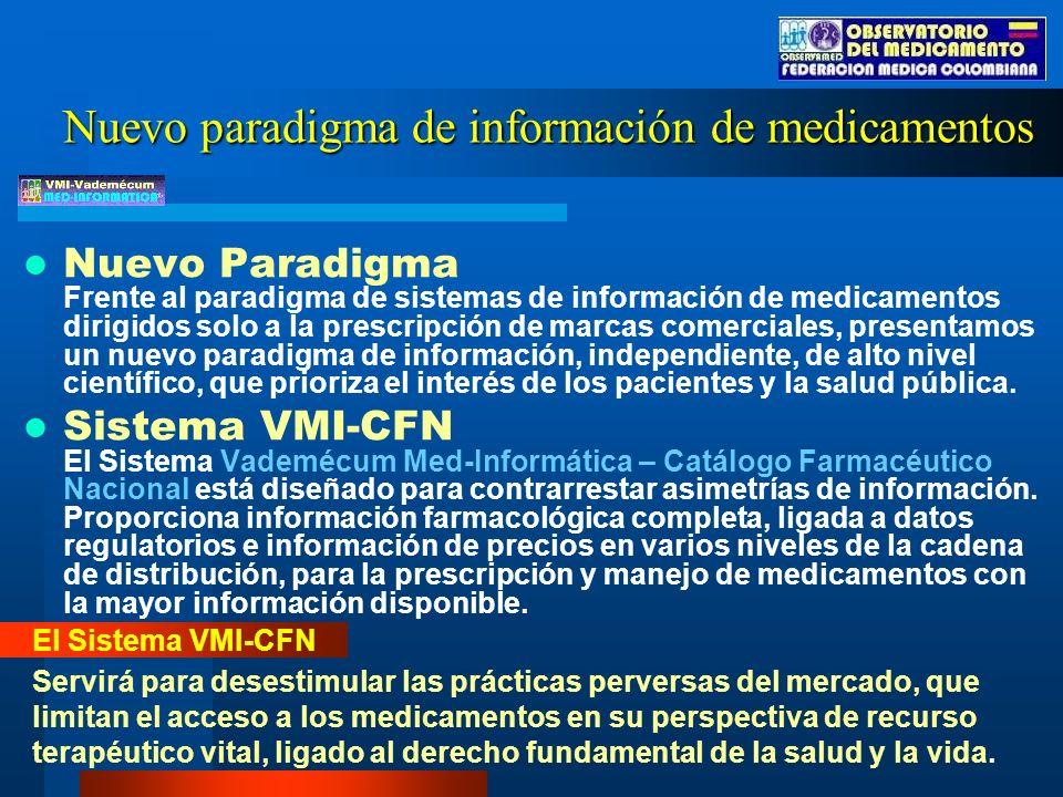 Nuevo Paradigma Frente al paradigma de sistemas de información de medicamentos dirigidos solo a la prescripción de marcas comerciales, presentamos un nuevo paradigma de información, independiente, de alto nivel científico, que prioriza el interés de los pacientes y la salud pública.