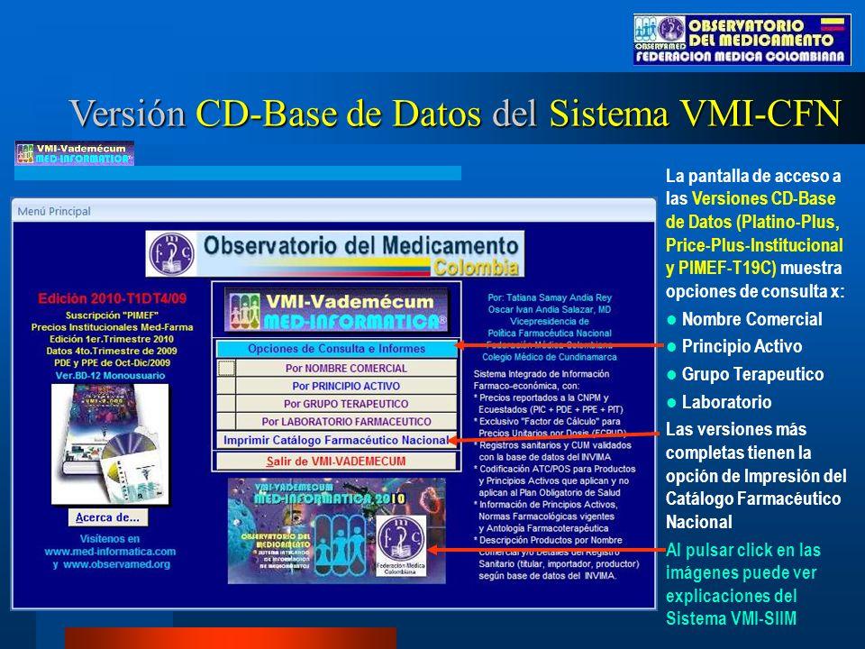Versión CD-Base de Datos del Sistema VMI-CFN La pantalla de acceso a las Versiones CD-Base de Datos (Platino-Plus, Price-Plus-Institucional y PIMEF-T19C) muestra opciones de consulta x: Nombre Comercial Principio Activo Grupo Terapeutico Laboratorio Las versiones más completas tienen la opción de Impresión del Catálogo Farmacéutico Nacional Al pulsar click en las imágenes puede ver explicaciones del Sistema VMI-SIIM