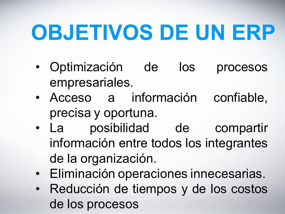 OBJETIVOS DE UN ERP Optimización de los procesos empresariales.