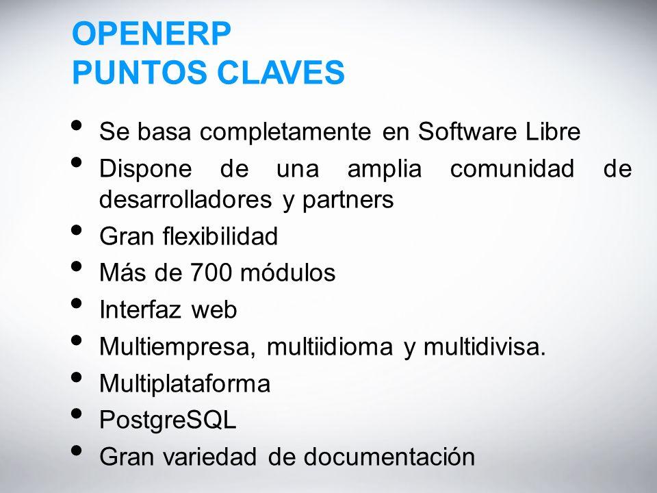OPENERP PUNTOS CLAVES Se basa completamente en Software Libre Dispone de una amplia comunidad de desarrolladores y partners Gran flexibilidad Más de 700 módulos Interfaz web Multiempresa, multiidioma y multidivisa.