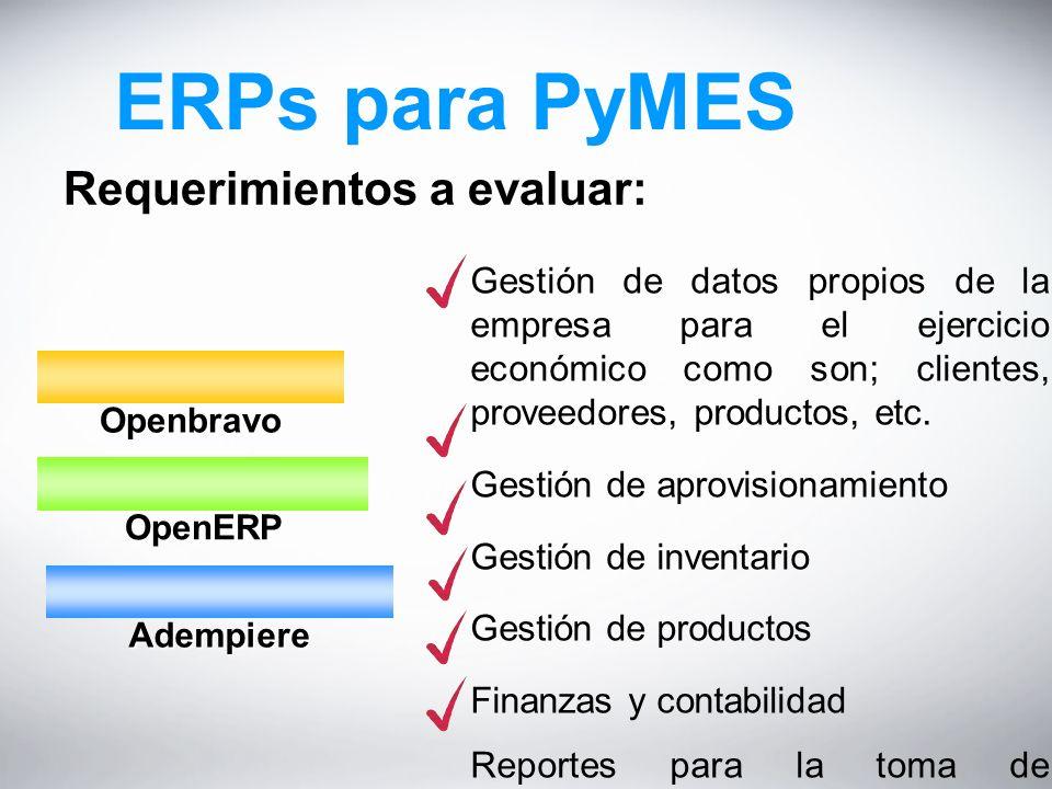 ERPs para PyMES Requerimientos a evaluar: Openbravo Openbravo OpenERP OpenERP Adempiere Adempiere Gestión de datos propios de la empresa para el ejercicio económico como son; clientes, proveedores, productos, etc.