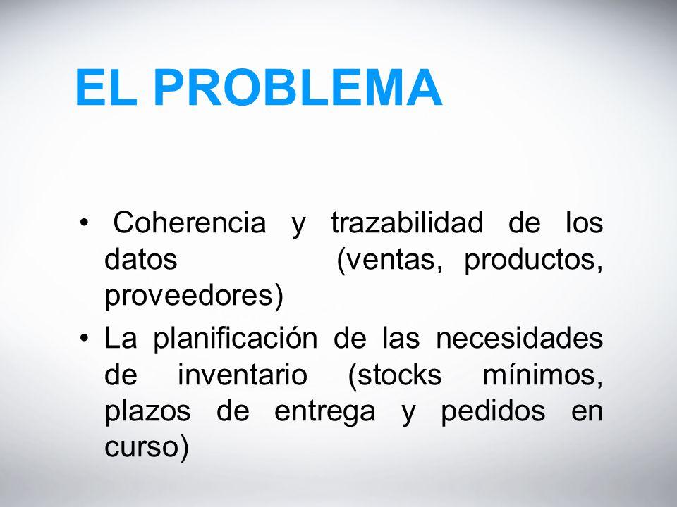 EL PROBLEMA Coherencia y trazabilidad de los datos (ventas, productos, proveedores) La planificación de las necesidades de inventario (stocks mínimos, plazos de entrega y pedidos en curso)