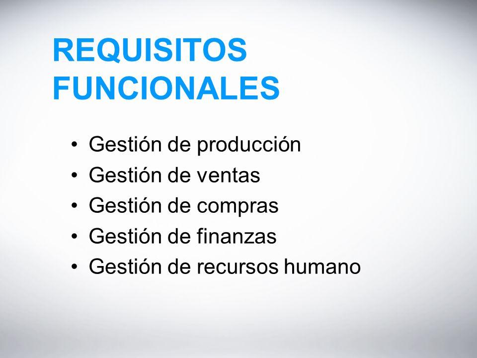 REQUISITOS FUNCIONALES Gestión de producción Gestión de ventas Gestión de compras Gestión de finanzas Gestión de recursos humano