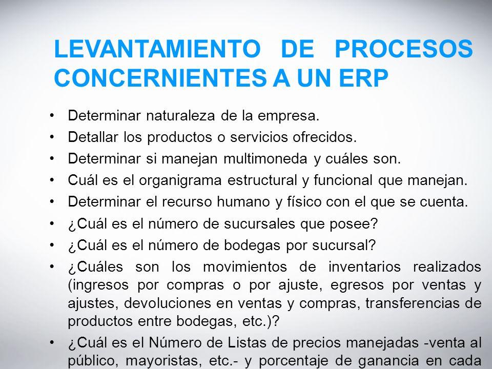 LEVANTAMIENTO DE PROCESOS CONCERNIENTES A UN ERP Determinar naturaleza de la empresa.