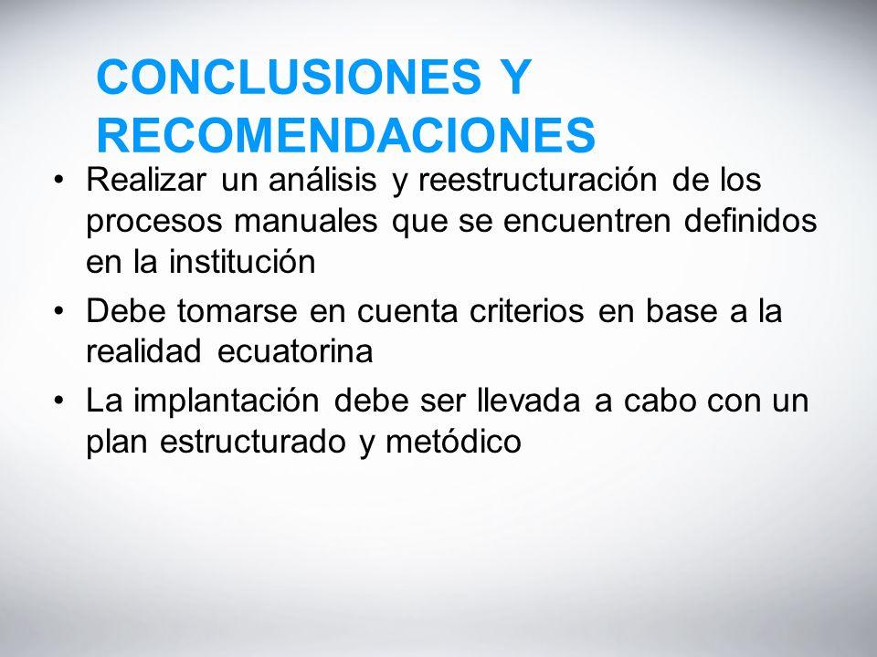 CONCLUSIONES Y RECOMENDACIONES Realizar un análisis y reestructuración de los procesos manuales que se encuentren definidos en la institución Debe tomarse en cuenta criterios en base a la realidad ecuatorina La implantación debe ser llevada a cabo con un plan estructurado y metódico