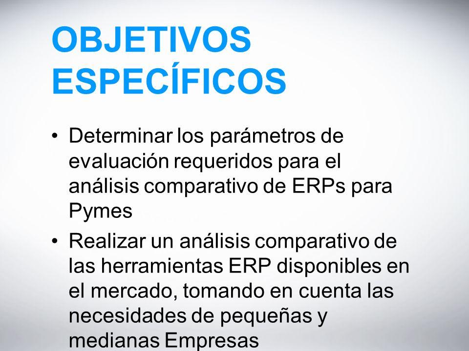 OBJETIVOS ESPECÍFICOS Determinar los parámetros de evaluación requeridos para el análisis comparativo de ERPs para Pymes Realizar un análisis comparativo de las herramientas ERP disponibles en el mercado, tomando en cuenta las necesidades de pequeñas y medianas Empresas