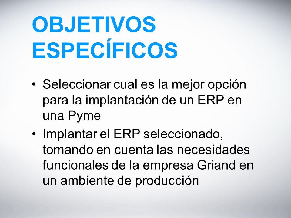 OBJETIVOS ESPECÍFICOS Seleccionar cual es la mejor opción para la implantación de un ERP en una Pyme Implantar el ERP seleccionado, tomando en cuenta las necesidades funcionales de la empresa Griand en un ambiente de producción