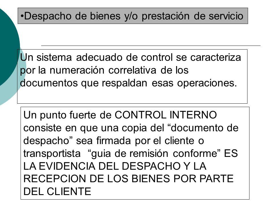 Procesos de auditoría: -Conciliación diariamente el total de las órdenes pedidas con los productos vendidos y con el documento guía de remisión conforme -Este documento debe ser numerado
