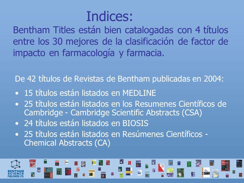 Indices: Bentham Titles están bien catalogadas con 4 títulos entre los 30 mejores de la clasificación de factor de impacto en farmacología y farmacia.