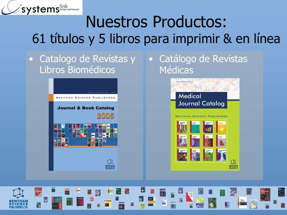 42 Revistas Biomédicas en: Para Investigación y Bibliotecas Farmaceúticas: Revistas de Revisiones (reviews) –Revisiones comprensibles, oportunas y profundas en un tema dado, escritas por líderes en el campo.