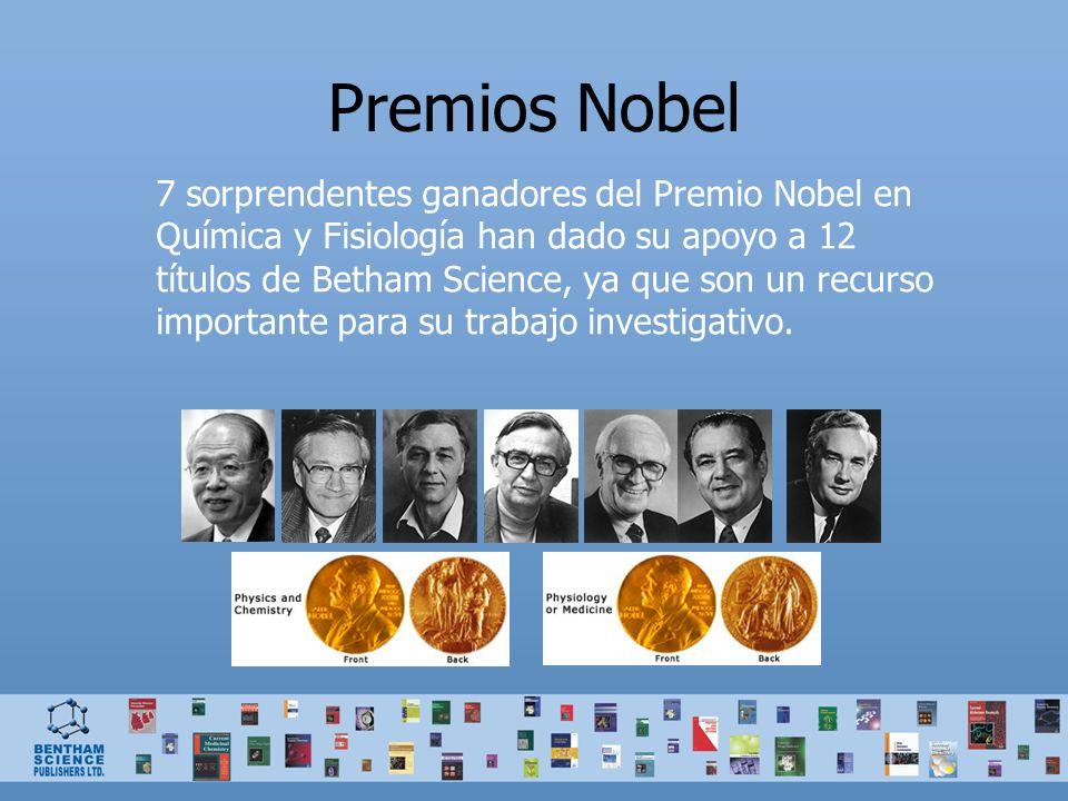 Premios Nobel 7 sorprendentes ganadores del Premio Nobel en Química y Fisiología han dado su apoyo a 12 títulos de Betham Science, ya que son un recurso importante para su trabajo investigativo.