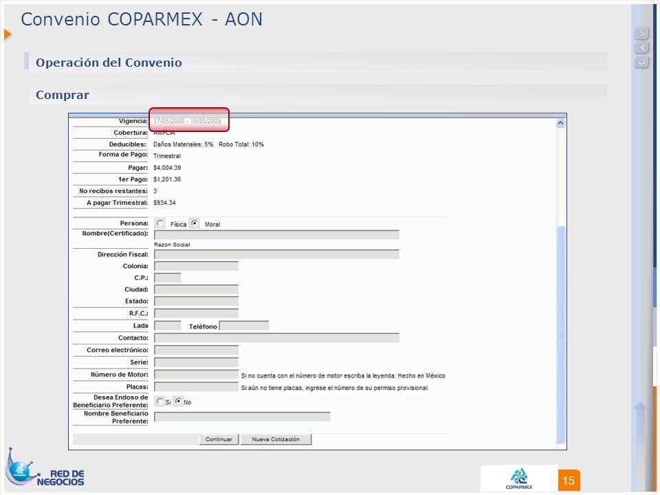 15 Convenio COPARMEX - AON Operación del Convenio Comprar
