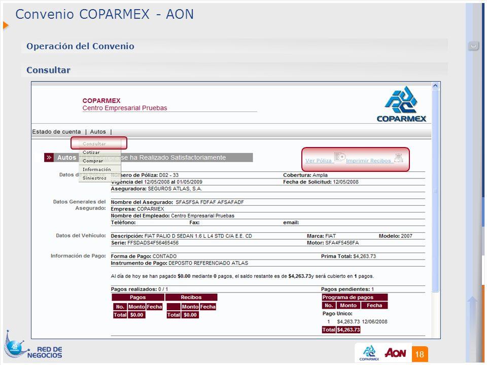 18 Operación del Convenio Consultar Convenio COPARMEX - AON