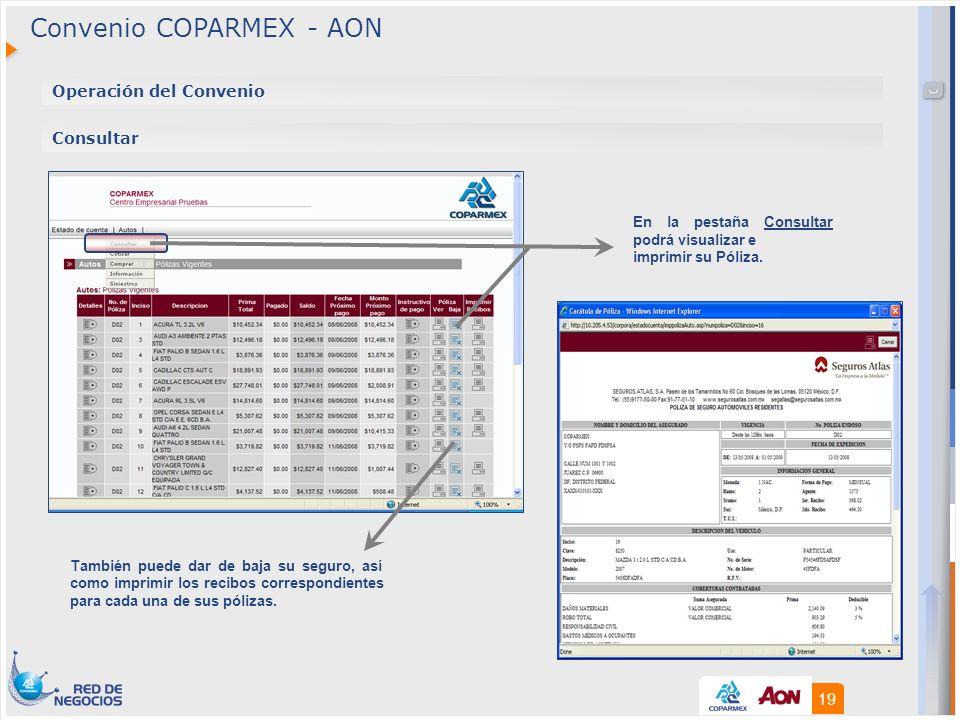 19 Operación del Convenio Consultar También puede dar de baja su seguro, así como imprimir los recibos correspondientes para cada una de sus pólizas.