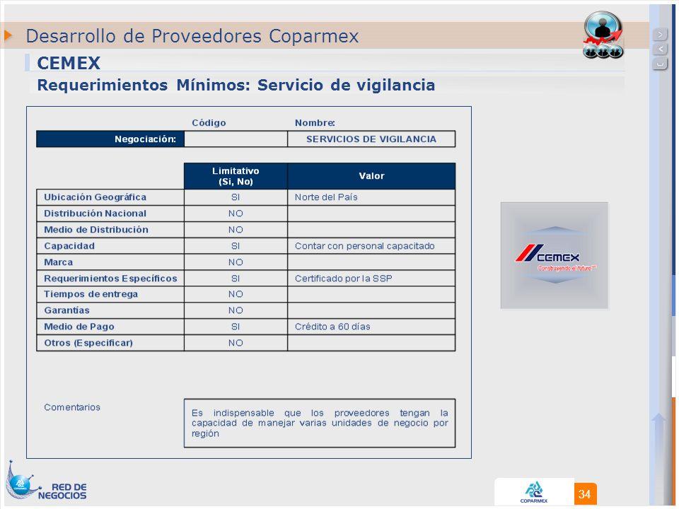 34 CEMEX Desarrollo de Proveedores Coparmex Requerimientos Mínimos: Servicio de vigilancia