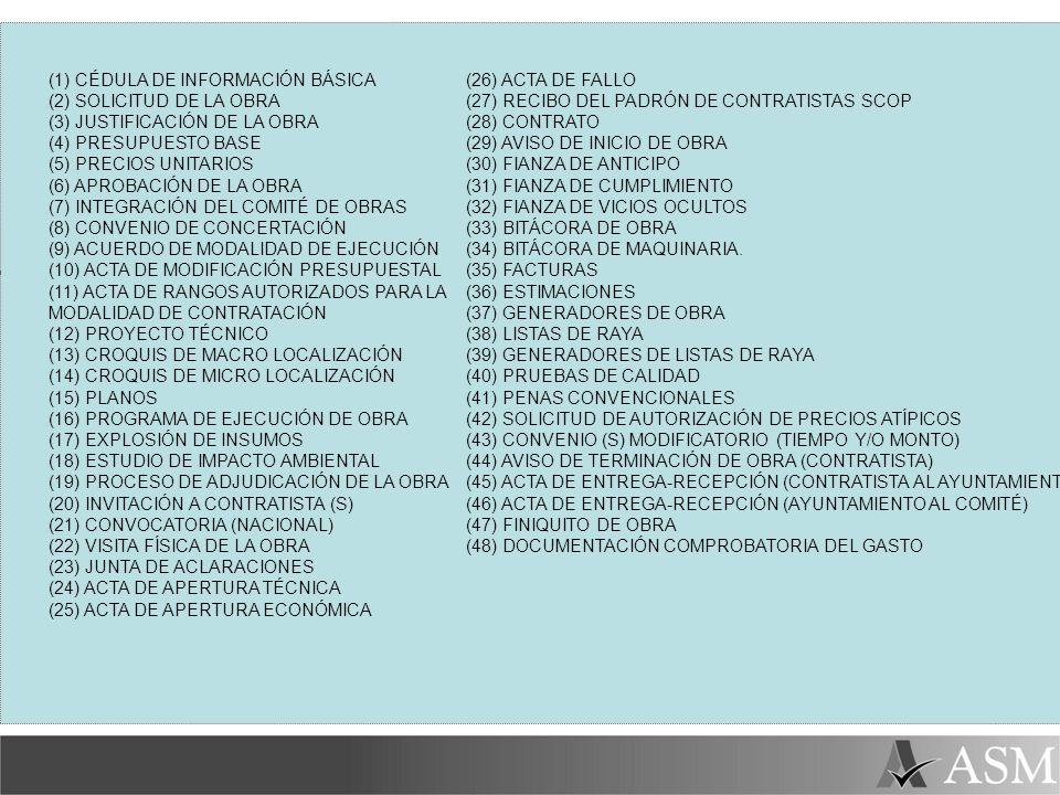 (1) CÉDULA DE INFORMACIÓN BÁSICA (2) SOLICITUD DE LA OBRA (3) JUSTIFICACIÓN DE LA OBRA (4) PRESUPUESTO BASE (5) PRECIOS UNITARIOS (6) APROBACIÓN DE LA OBRA (7) INTEGRACIÓN DEL COMITÉ DE OBRAS (8) CONVENIO DE CONCERTACIÓN (9) ACUERDO DE MODALIDAD DE EJECUCIÓN (10) ACTA DE MODIFICACIÓN PRESUPUESTAL (11) ACTA DE RANGOS AUTORIZADOS PARA LA MODALIDAD DE CONTRATACIÓN (12) PROYECTO TÉCNICO (13) CROQUIS DE MACRO LOCALIZACIÓN (14) CROQUIS DE MICRO LOCALIZACIÓN (15) PLANOS (16) PROGRAMA DE EJECUCIÓN DE OBRA (17) EXPLOSIÓN DE INSUMOS (18) ESTUDIO DE IMPACTO AMBIENTAL (19) PROCESO DE ADJUDICACIÓN DE LA OBRA (20) INVITACIÓN A CONTRATISTA (S) (21) CONVOCATORIA (NACIONAL) (22) VISITA FÍSICA DE LA OBRA (23) JUNTA DE ACLARACIONES (24) ACTA DE APERTURA TÉCNICA (25) ACTA DE APERTURA ECONÓMICA (26) ACTA DE FALLO (27) RECIBO DEL PADRÓN DE CONTRATISTAS SCOP (28) CONTRATO (29) AVISO DE INICIO DE OBRA (30) FIANZA DE ANTICIPO (31) FIANZA DE CUMPLIMIENTO (32) FIANZA DE VICIOS OCULTOS (33) BITÁCORA DE OBRA (34) BITÁCORA DE MAQUINARIA.