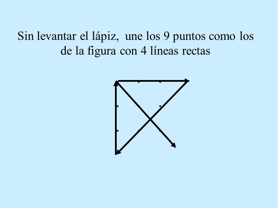 OTRA: Sin levantar el lápiz, une los 9 puntos como los de la figura con 4 líneas rectas...