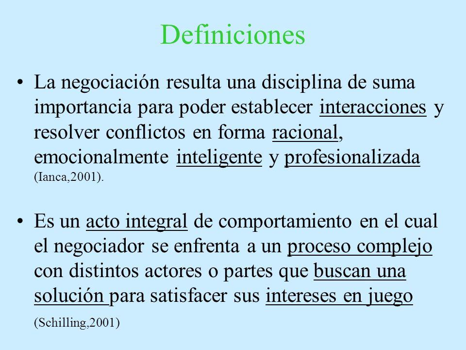Definiciones La negociación resulta una disciplina de suma importancia para poder establecer interacciones y resolver conflictos en forma racional, emocionalmente inteligente y profesionalizada (Ianca,2001).