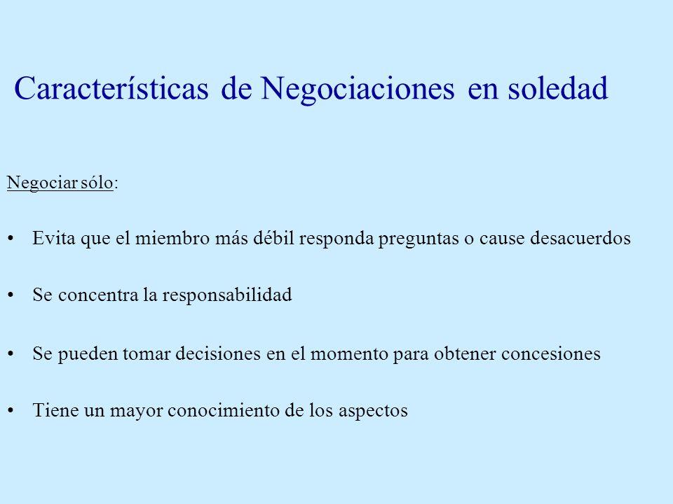 Características de Negociaciones en equipo Negociar en equipo: *Diferentes capacidades, mayor amplitud en la búsqueda de hechos *Valoración mancomunad