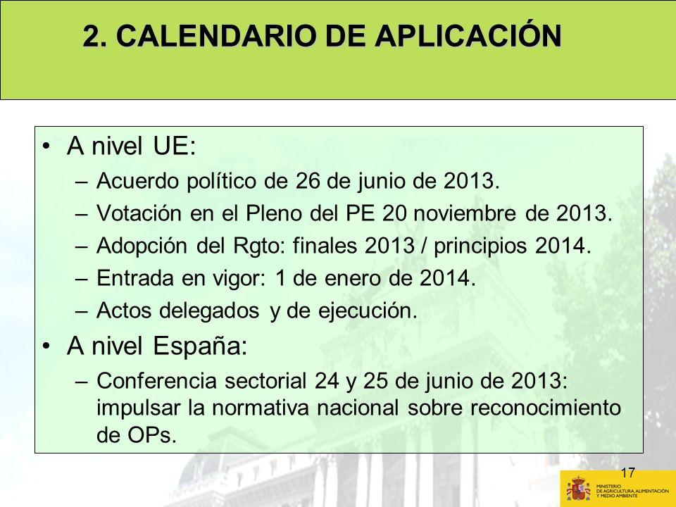 17 A nivel UE: –Acuerdo político de 26 de junio de 2013. –Votación en el Pleno del PE 20 noviembre de 2013. –Adopción del Rgto: finales 2013 / princip