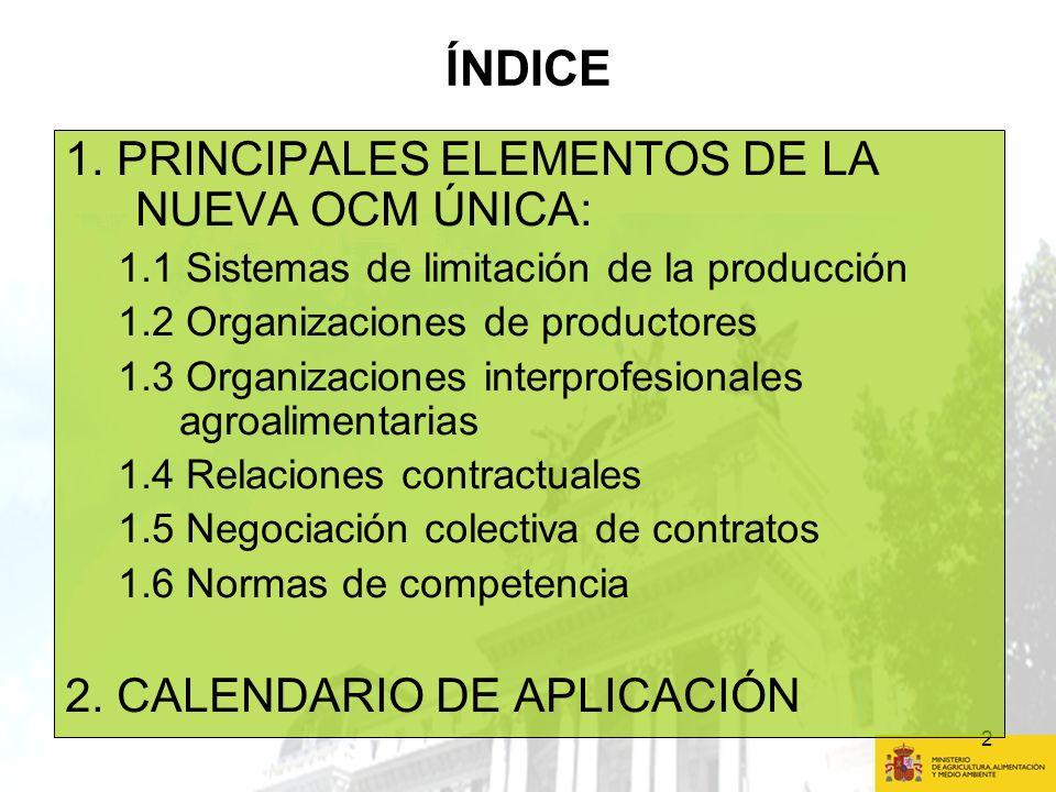 2 ÍNDICE 1. PRINCIPALES ELEMENTOS DE LA NUEVA OCM ÚNICA: 1.1 Sistemas de limitación de la producción 1.2 Organizaciones de productores 1.3 Organizacio
