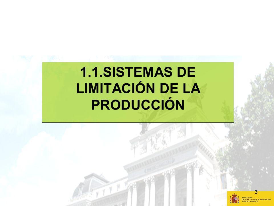 4 1.1 SISTEMAS DE LIMITACIÓN DE LA PRODUCCIÓN AHORAFUTURO AzúcarEliminación en 2015Prórroga hasta 2017 Viñedo Régimen de derechos de plantación hasta final de 2015 Sistema de autorización de plantaciones de viñedo 2016 - 2030 Leche Fin de la cuota láctea en 2015 Fin de cuotas en 2015.