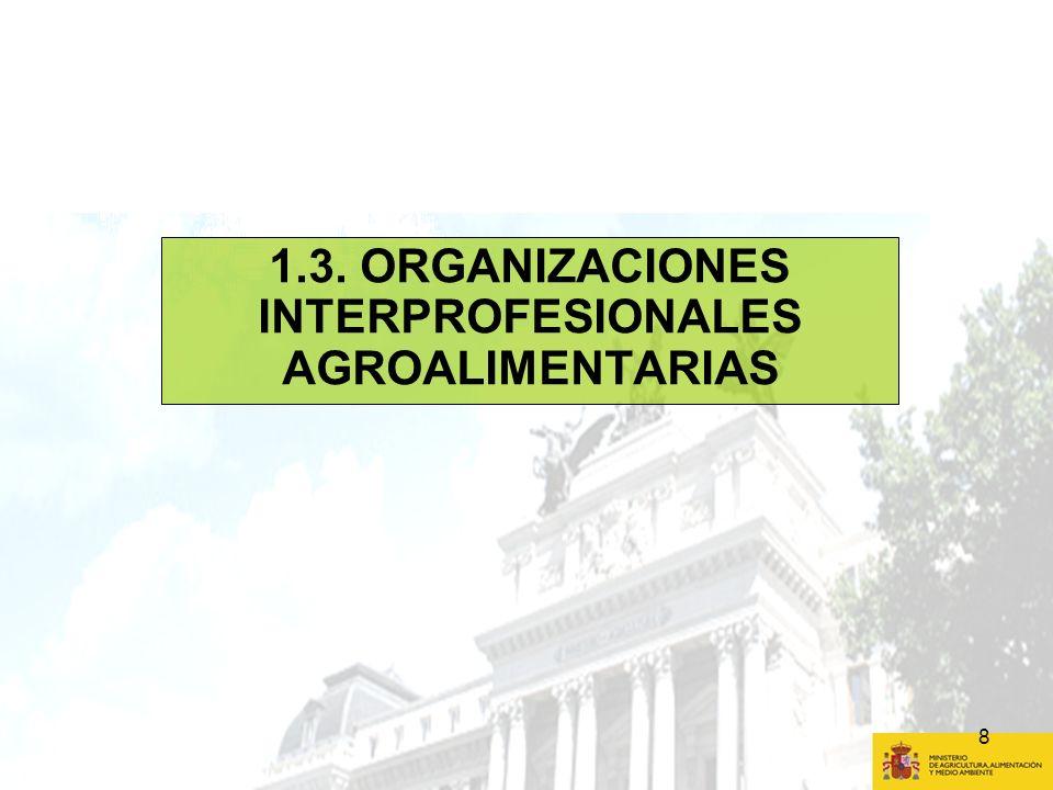 9 1.3 ORGANIZACIONES INTERPROFESIONALES AGROALIMENTARIAS (I) AHORAFUTURO Reconocimiento Obligatorio: aceite de oliva y aceituna de mesa y tabaco Facultativo: resto de sectores incluidos en la OCM Status - quo Objetivos / funciones Aceite de oliva y aceituna y tabaco: - Concentración y coordinación de la oferta y la comercialización, adaptación de la producción y transformación al mercado, racionalización y mejora de producción y transformación, estudios métodos producción sostenible y evolución del mercado.
