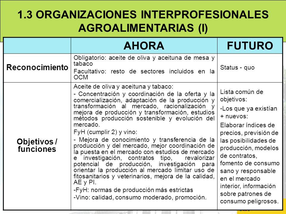 9 1.3 ORGANIZACIONES INTERPROFESIONALES AGROALIMENTARIAS (I) AHORAFUTURO Reconocimiento Obligatorio: aceite de oliva y aceituna de mesa y tabaco Facul