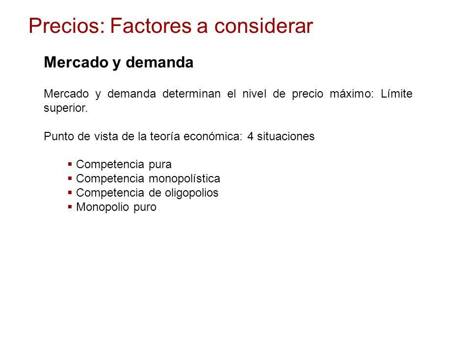 Mercado y demanda Mercado y demanda determinan el nivel de precio máximo: Límite superior. Punto de vista de la teoría económica: 4 situaciones Compet