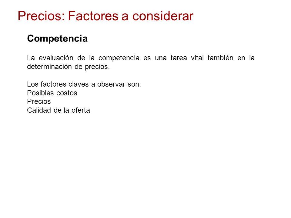 Competencia La evaluación de la competencia es una tarea vital también en la determinación de precios. Los factores claves a observar son: Posibles co
