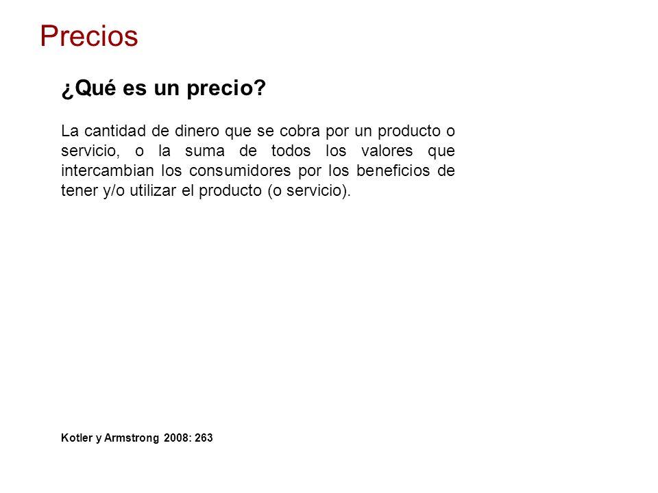 ¿Qué es un precio? La cantidad de dinero que se cobra por un producto o servicio, o la suma de todos los valores que intercambian los consumidores por