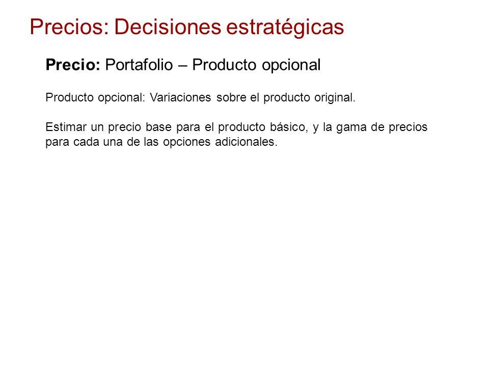 Producto opcional: Variaciones sobre el producto original. Estimar un precio base para el producto básico, y la gama de precios para cada una de las o