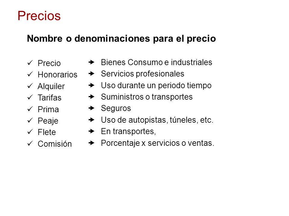 Nombre o denominaciones para el precio Precio Honorarios Alquiler Tarifas Prima Peaje Flete Comisión – Bienes Consumo e industriales – Servicios profe