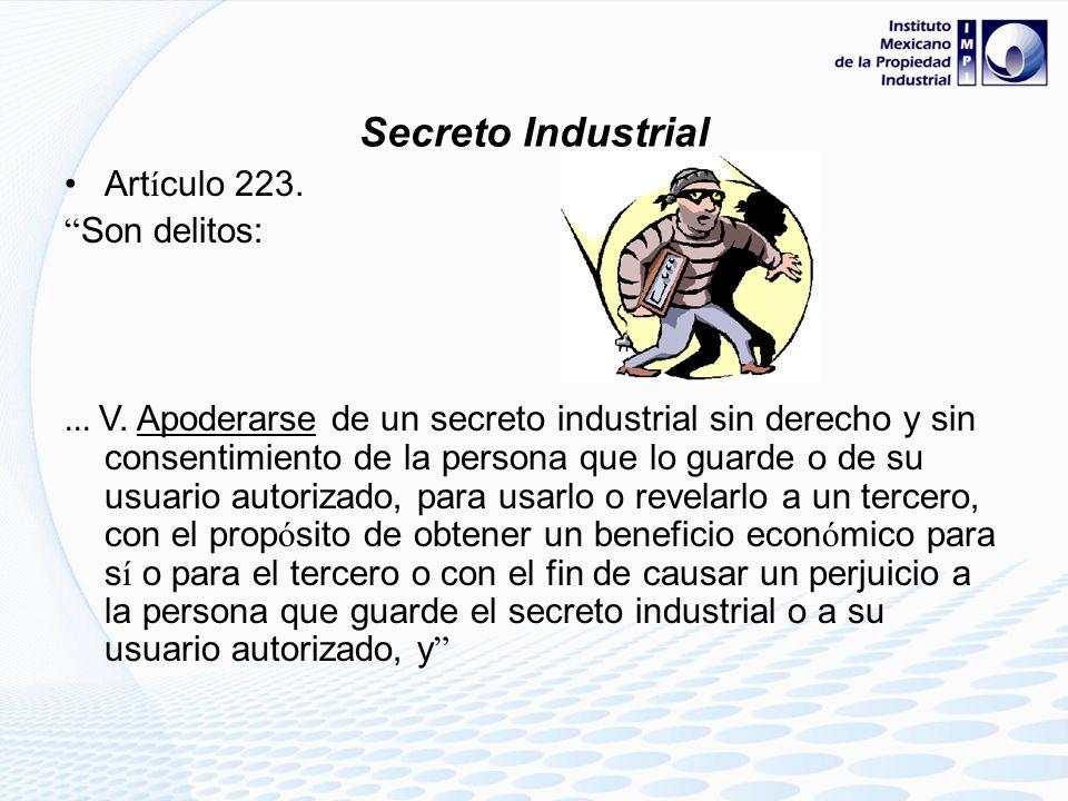 Art í culo 223. Son delitos:... IV. Revelar a un tercero un secreto industrial, que se conozca con motivo de su trabajo, puesto, cargo, desempe ñ o de