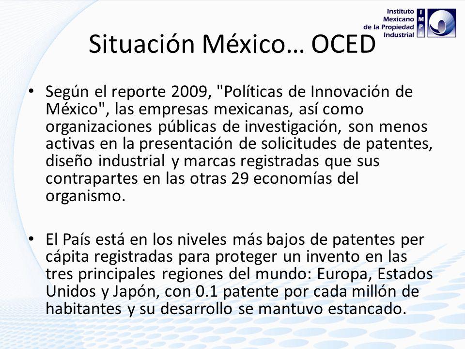 Calificación OCDE respecto a México Publicación Grupo ReformaMéxico (14 febrero 2010).- Tiene México rezago en patentes.- OCDE Nueva Zelanda, Hungría