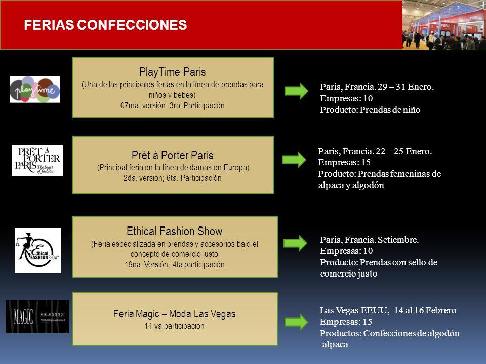 FERIAS CONFECCIONES PlayTime Paris (Una de las principales ferias en la línea de prendas para niños y bebes) 07ma. versión; 3ra. Participación Ethical