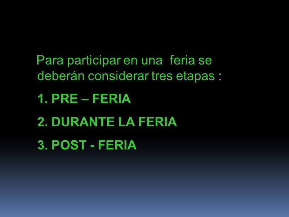 Para participar en una feria se deberán considerar tres etapas : 1. PRE – FERIA 2. DURANTE LA FERIA 3. POST - FERIA