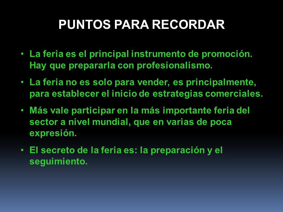 PUNTOS PARA RECORDAR La feria es el principal instrumento de promoción. Hay que prepararla con profesionalismo. La feria no es solo para vender, es pr