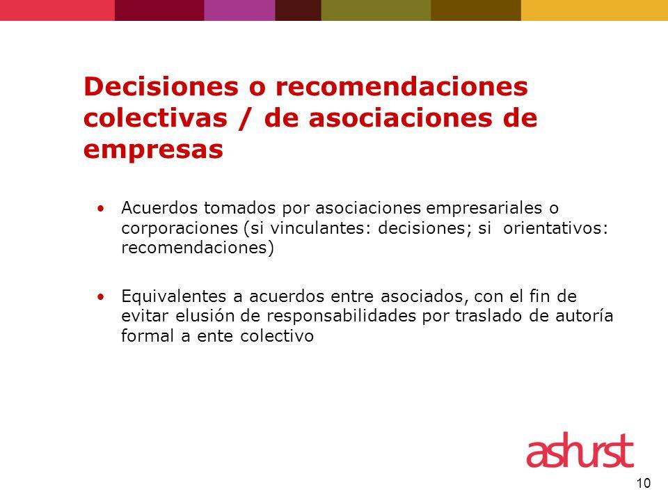 10 Decisiones o recomendaciones colectivas / de asociaciones de empresas Acuerdos tomados por asociaciones empresariales o corporaciones (si vinculant