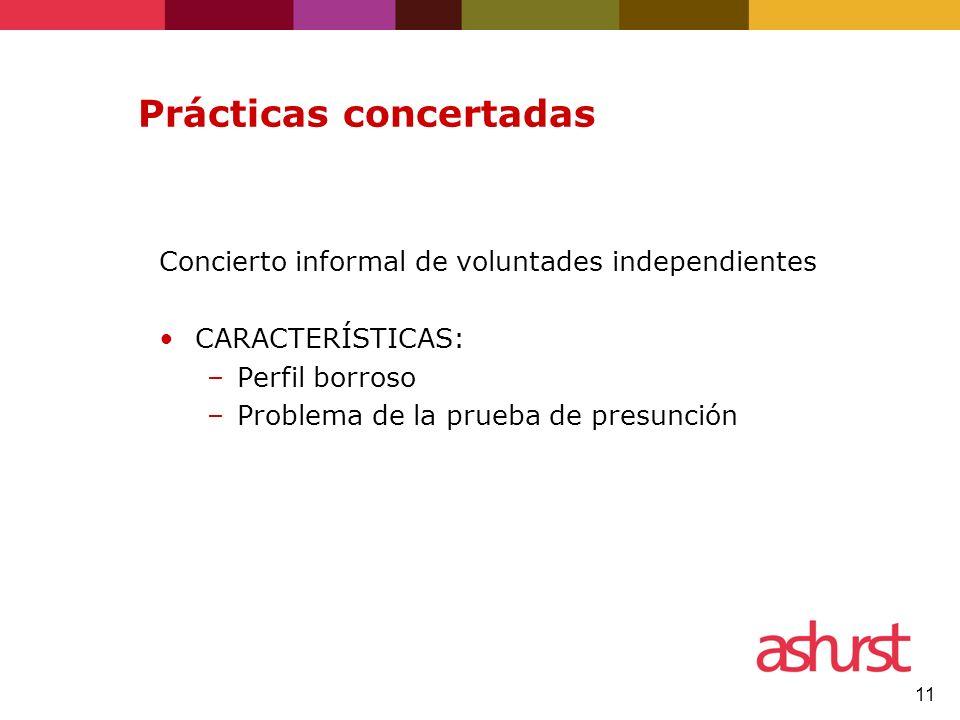11 Prácticas concertadas Concierto informal de voluntades independientes CARACTERÍSTICAS: –Perfil borroso –Problema de la prueba de presunción