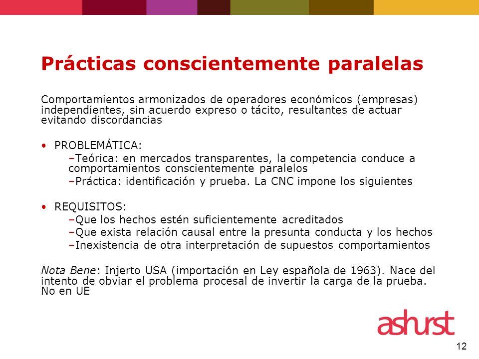 12 Prácticas conscientemente paralelas Comportamientos armonizados de operadores económicos (empresas) independientes, sin acuerdo expreso o tácito, r